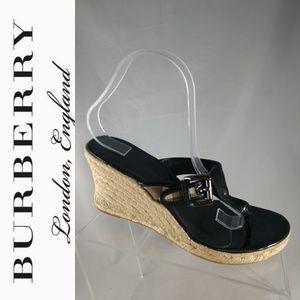 Burberry Authentic Wedge Espadrilles Sandals Black